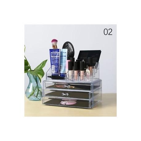 ba106f98b543 2 * - 4 fiókos átlátszó akril kozmetikai szervező sminkes ékszer tároló  tartó doboz