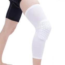 Fehér-L - Antislip kosárlabda láb térdvédő Crashproof hosszú ujjú hajtómű Méhsejt pad