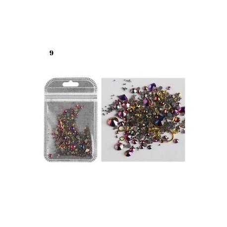 09 * - Multicolor vegyes minta 3D Glitter Rvit köröm művészet strasszok DIY manikűr dekoráció