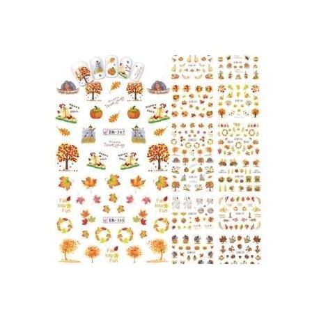 12Pcs / Sheet vízátvitel matricák Maple Leaf Manicure Decor Nail Art matricák