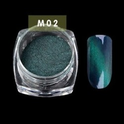 M02 - 3D-s körömápolás pordekoráció Cat Eye mágneses mágikus tükör por kaméleon