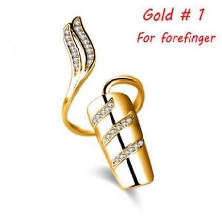 8e9b067021 Arany - Divat Női Ezüst aranyozott Nail Ring Korona Virág Kristály Finger  Nail Ring