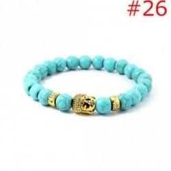 26 - Stretchable arany ezüst charm Buddha gyöngyös karkötő Natural Lava Stone karkötő