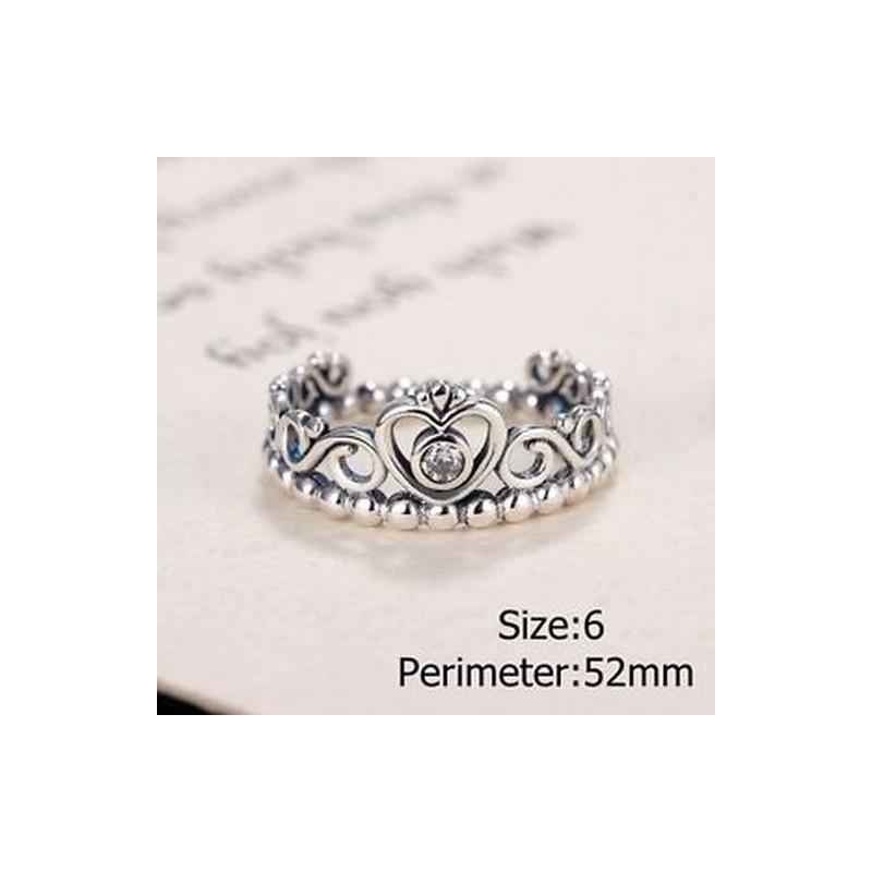 42d664e78e ... Divat Vintage Thai Ezüst Szerelem Crystal korona gyűrű Női lány gyűrű  ékszerek ...