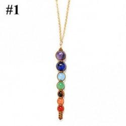1 - Ékszer Jóga medál nyaklánc 7 Chakra gyöngyök Természetes Reiki gyógyító drágakő