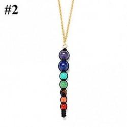 2 - Ékszer Jóga medál nyaklánc 7 Chakra gyöngyök Természetes Reiki gyógyító drágakő