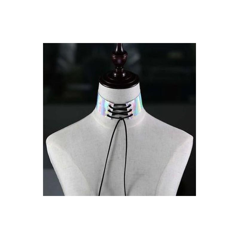 362a02bcb1 Arany - Ékszer punk szivárványos holografikus PU nyakörv pántok pendant  lézerrel