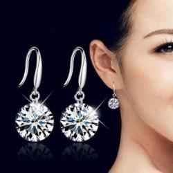 Divat 925 Ezüst Női Crystal strasszos Fülbevaló