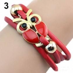 Piros - Kézzel fonott lánc Vintage aranyozott többrétegű aranyszínű aranyozott bagoly karperec karkötő