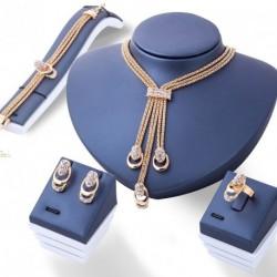 Női Arany szín Kristály nyaklánc karkötő gyűrű szett