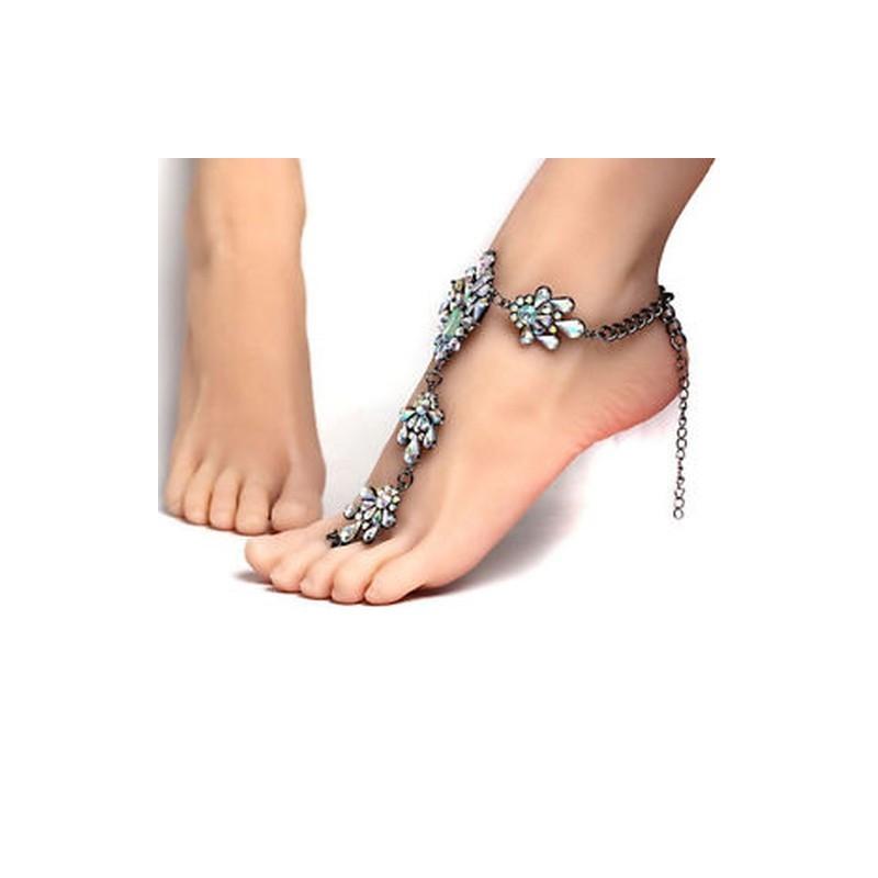 bf1b48d129 ... Új Boho nők Crystal Anklets Lánc karpere mezítlábas szandál strand láb  ékszer ...