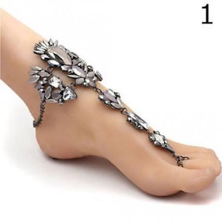 e0b50f337a 1 - Crystal láb ékszer lánc szandál strand karkötő mezítláb anklets