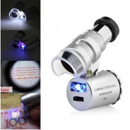 60x Kézi Mini Pocket Mikroszkóp Loupe ékszerész Nagyító LED-es világítás.