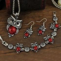piros - Tibeti ezüst kristály fülbevaló nyaklánc karkötő bagoly medál ékszer készlet