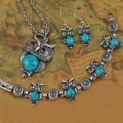 Kék - Antik tibeti kristály bagoly türkiz nyaklánc karkötő fülbevaló Ékszer szett