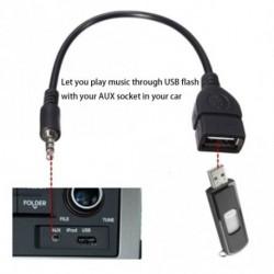 Fekete OTG kábel - 3,5 mm-es audió AUX-USB A típus - amerikai autókhoz