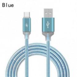 KÉK - USB C típusú C izzó LED villogó fémötvözet adatkábel Gyors töltőzsinór