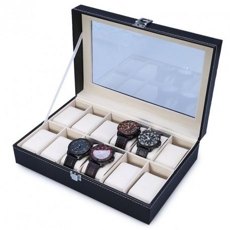 12 helyes műbőr óra tartó rendező box doboz tároló