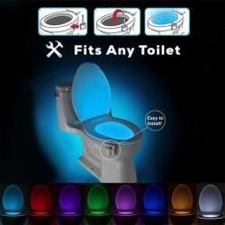 1db 8 Szín Automatikus érzékelős LED Sensor mágikus wc csészetoalett  éjszakai fény lámpa