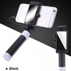 Fekete - Telefon tartó tükör Selfie Stick monopod IPhone Samsung Huawei Xiaomi