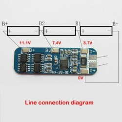 3-as 12V 18650 lítium akkumulátor védő panel 12.6V 11.1V  10A túláram védelem