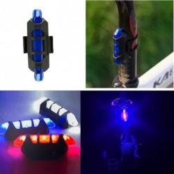 ÚJ 5 LED Kerékpár  USB újratölthető piros hátsó lámpa Figyelmeztető fény több szín 1 db