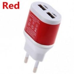 Piros - Fali töltő Dual USB EU csatlakozó 5V / 2A hálózati adapter Samsung HTC mobiltelefonokhoz