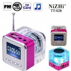 TT028 hordozható Mini hangszóró  SD / TF kártya Óra Rádió LCD képernyő