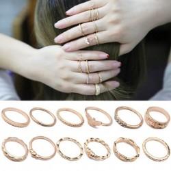 12db Boho Vintage Arany színű  gyűrű kristály strasszos gyűrű Női Ékszer bizsu kiegészítő