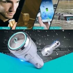 3 az 1-ben USB-s autós töltő + Vészkalapács + borotva intelligens gyors töltés iPhone HTC Pad tablet