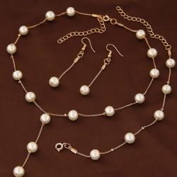 1x Gyöngyös stílusú Ékszer szett nyaklánc karkötő fülbevaló ezüst arany színben választható ékszer