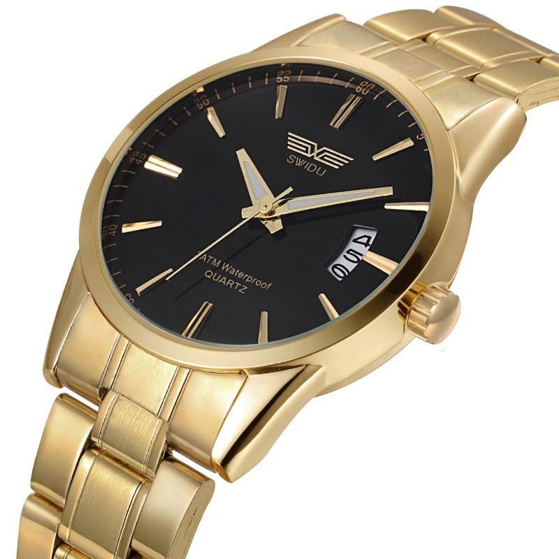 c38559ebe 1x Új Férfi rozsdamentes acél arany színű óra dátumkijelzős katonai ...