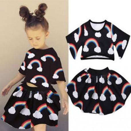 6033a28eeb 2018 Új érkezés gyerekek lány Rainbow nyomtatott fekete Top rövid szoknya ruhák  ruhák