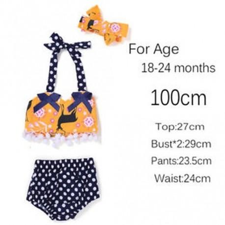 4a32591281 100cm - 2018 Új érkezés Dot virágos gyermek ruhák készlet fejpántos felső nadrág  ruhában