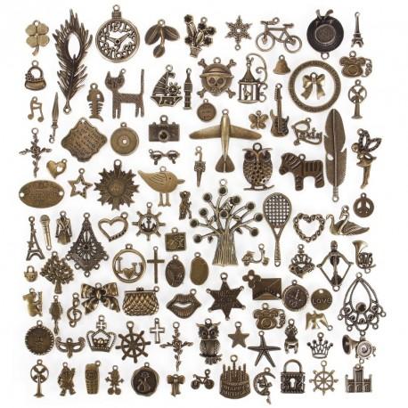 100db  vegyes antik bronz varázs ötvözet medál barkács kiegészítő karkötő nyaklánc ékszer készítés kézműves