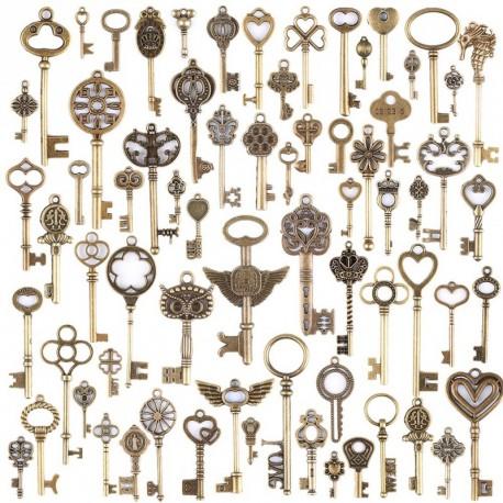 69db antik vintage bronz csontváz kulcs medál készlet DIY nyaklánc medál ékszerek készítés