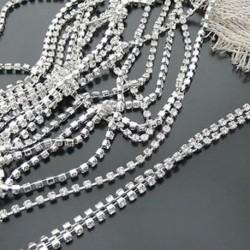 S16 4mm 1 méteres - Costume Applique Clear kristályüveg strassz Close Silver Chain Trim