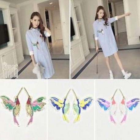 2PCS ruházati póló hímzőfoltok varrás patchwork Applique 3D madarak