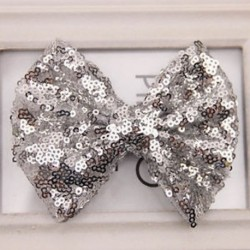 Ezüst - Baby Girl Kids Sequin Bowknot Bow Hair Clip Hair Bow Klipek Hair Pins Xmas Ajándék