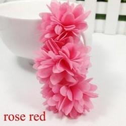 Rózsavörös - Baba Haj tartozékok Barrettes Gumi Sávok Sifon virágok Fejfedők
