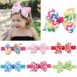 Újszülött kislányok Bowknot Stripe Wave Headband Hair Band