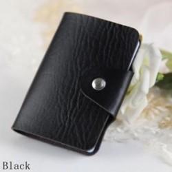 Fekete - 24Card Slots kétoldalas műanyag kártya tartó kis méretű üzleti hitelkártya táska