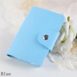Kék - 24Card Slots kétoldalas műanyag kártya tartó kis méretű üzleti hitelkártya táska