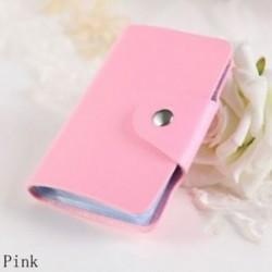 Rózsaszín - 24Card Slots kétoldalas műanyag kártya tartó kis méretű üzleti hitelkártya táska