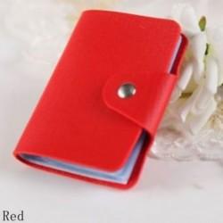 Piros - 24Card Slots kétoldalas műanyag kártya tartó kis méretű üzleti hitelkártya táska