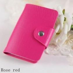 Rózsavörös - 24Card Slots kétoldalas műanyag kártya tartó kis méretű üzleti hitelkártya táska