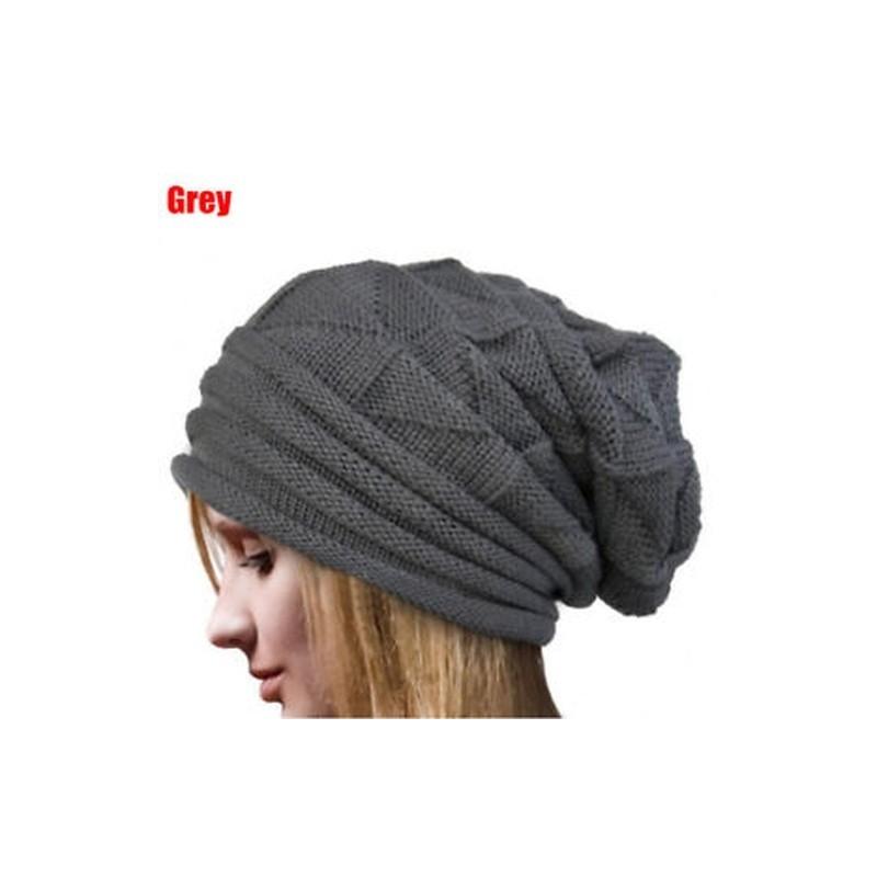 deaef4e7f8 Szürke - Női Téli Horgolt Hat Gyapjú Kötött Beanie Meleg sapka