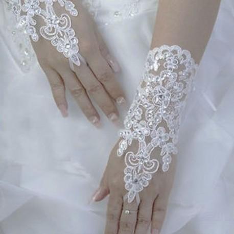 dec3e01dae fehér - Elegáns Ivory White Fingerless rövid csipke strasszos esküvői  kesztyű