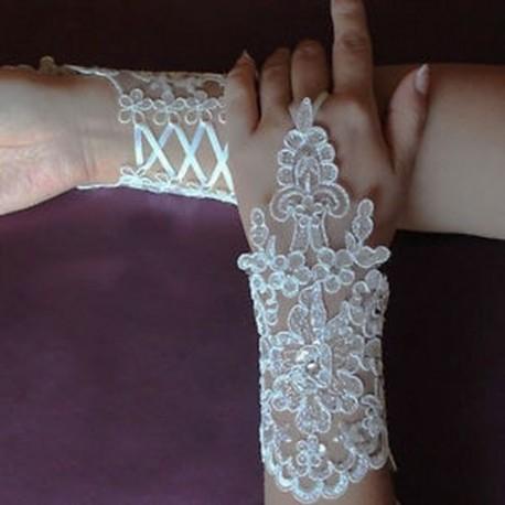 97886b8128 Elefántcsont - Elegáns Ivory White Fingerless rövid csipke strasszos  esküvői kesztyű