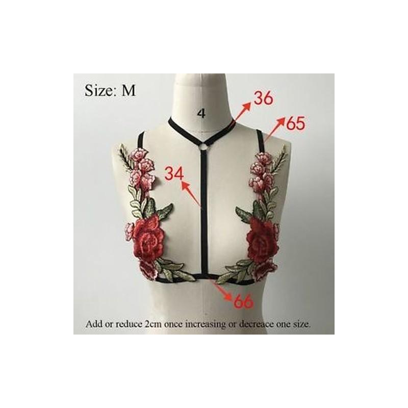 3fc357740e L - Sexy Body Cage Harness Belt Fehérnemű Bőr póló Hímzett virágszedők Top